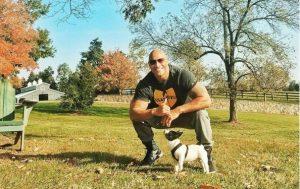 Dwayne 'The Rock' Johnson with his beautiful French bulldog Hobbs